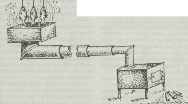 Печка-буржуйка для полугорячего копчения.
