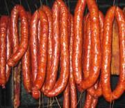 Копченая домашняя свиная колбаса
