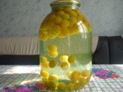Быстрый компот из желтой алычи с косточками