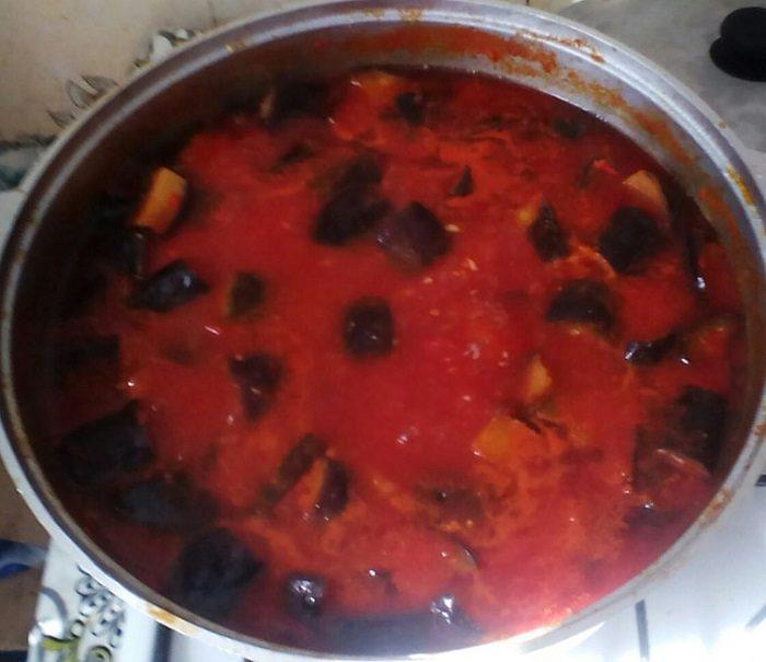 Зимний салат Тещин язык из баклажанов