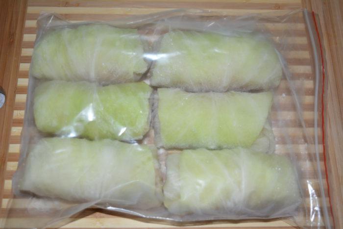 Голубцы в пакете для замораживания
