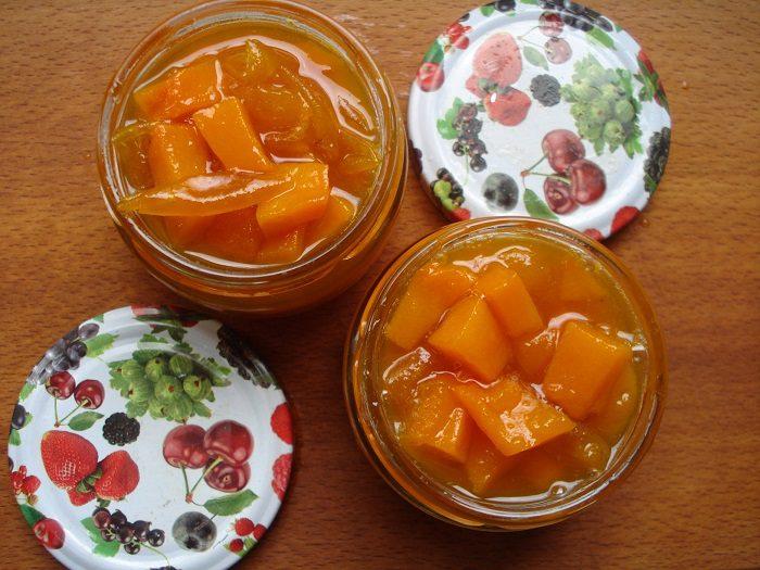 Варенье из тыквы и сливы с мятой