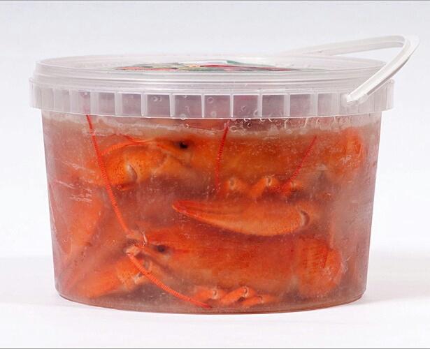 Заморозка раков в пластиковой таре
