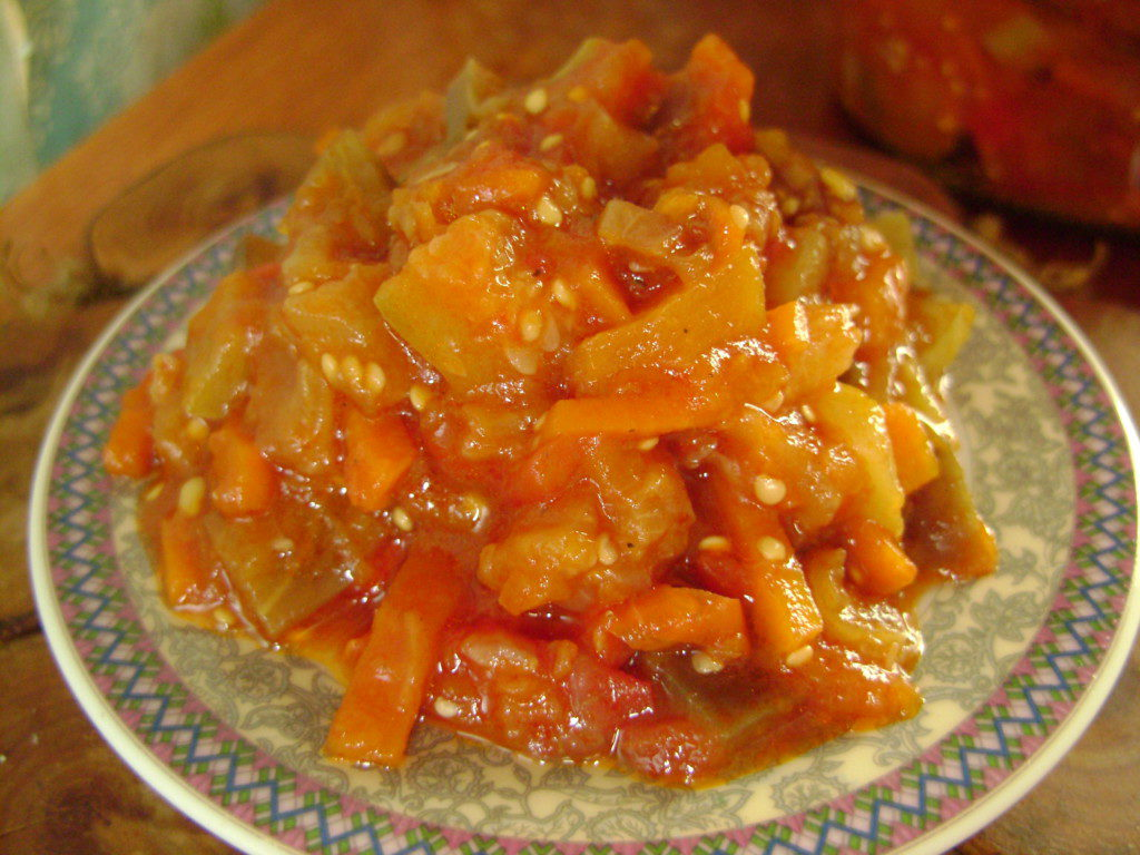 Овощное рагу с баклажанами и кабачками на зиму
