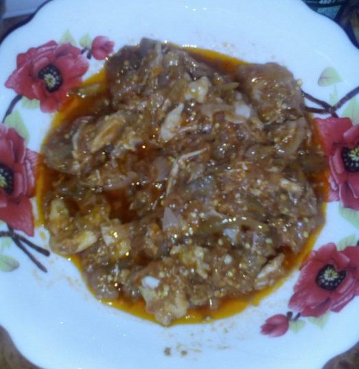 Салат с баклажанами и курицей на зиму